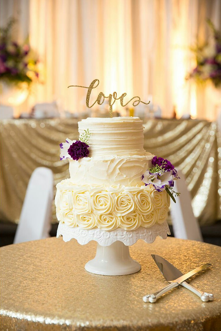 Three tiered rosette rustic vintage wedding cake – ICED Cupcakery ...